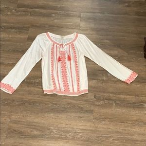 Lucky Brand Long sleeve coral embroidery-Sz M EUC